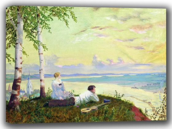 Kustodiev, Boris: On the Volga. Fine Art Canvas. Sizes: A4/A3/A2/A1 (002191)